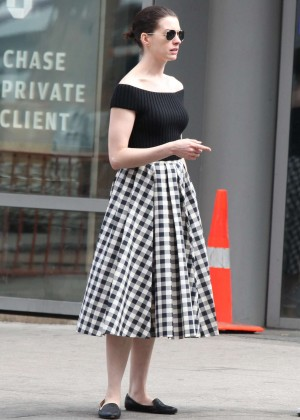 Anne Hathaway in Skirt Out in NYC