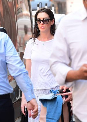Anne Hathaway out in Brooklyn