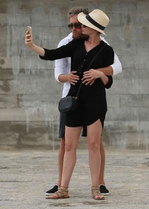 Anne Hathaway out in Ibiza Dalt Villa