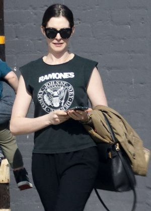 Anne Hathaway - Out with her family in Los Angeles