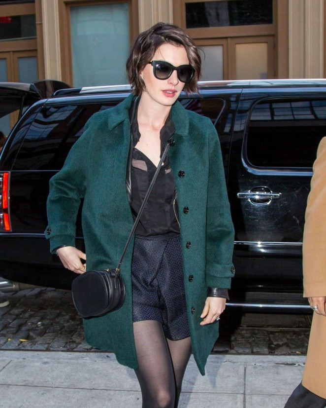 Anne Hathaway in Green Coat out in New York