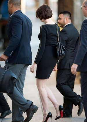 Anne Hathaway in Black Mini Dress Visits Jimmy Kimmel Live in LA