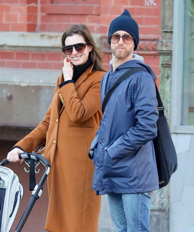 Anne Hathaway with husband Adam - Out in Chelsea in New York City