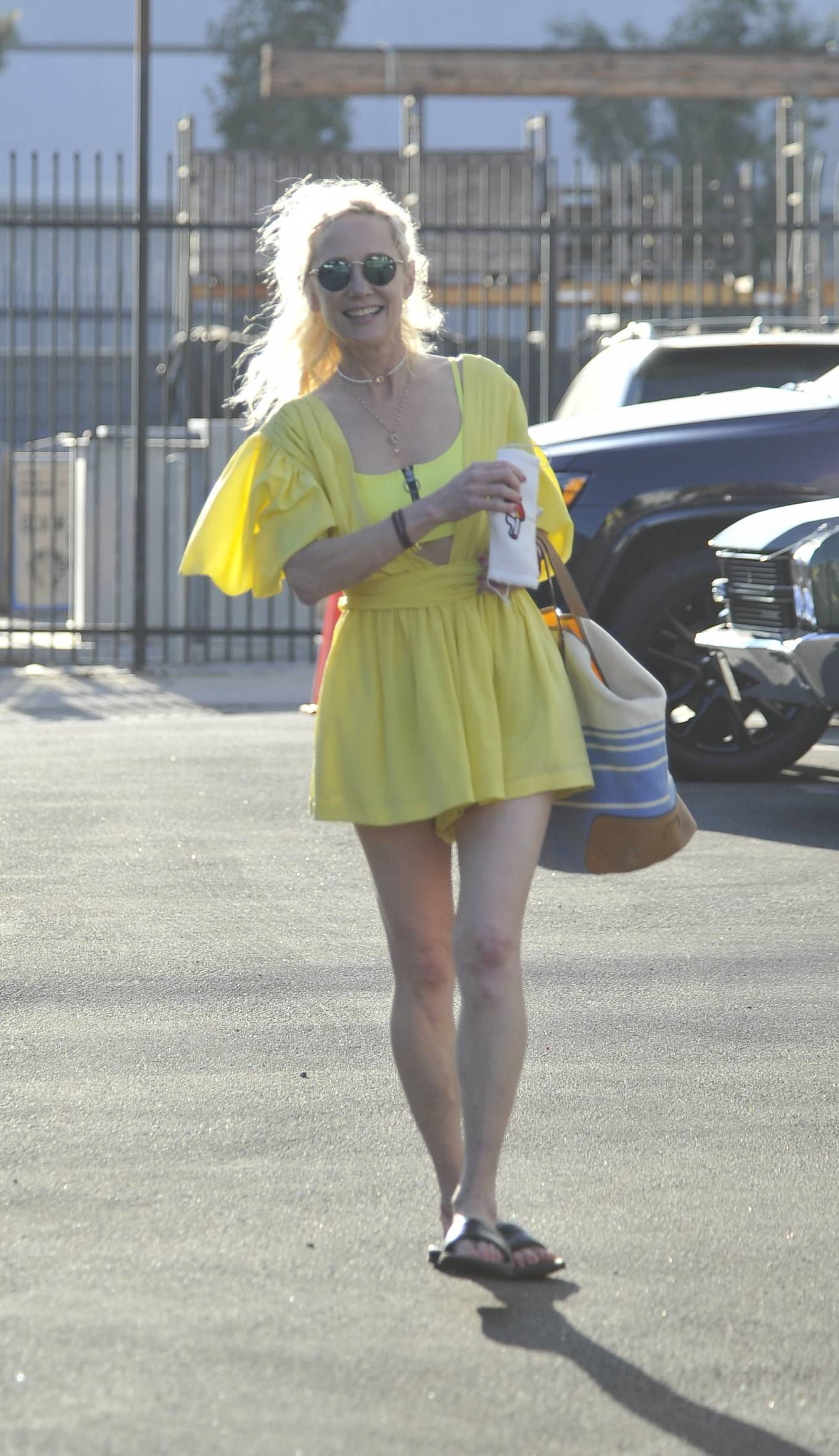 Anne Heche - In short summer dress at the DWTS rehearsal studio in Hollywood