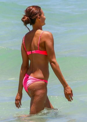 Anne Marie Kortright in Pink Bikini at Miami Beach