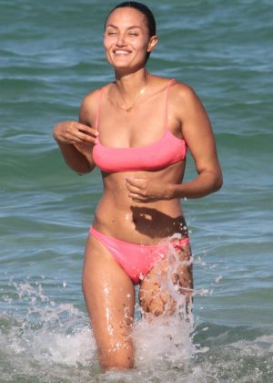 Anne Marie Kortright in Pink Bikini on the beach in Miami