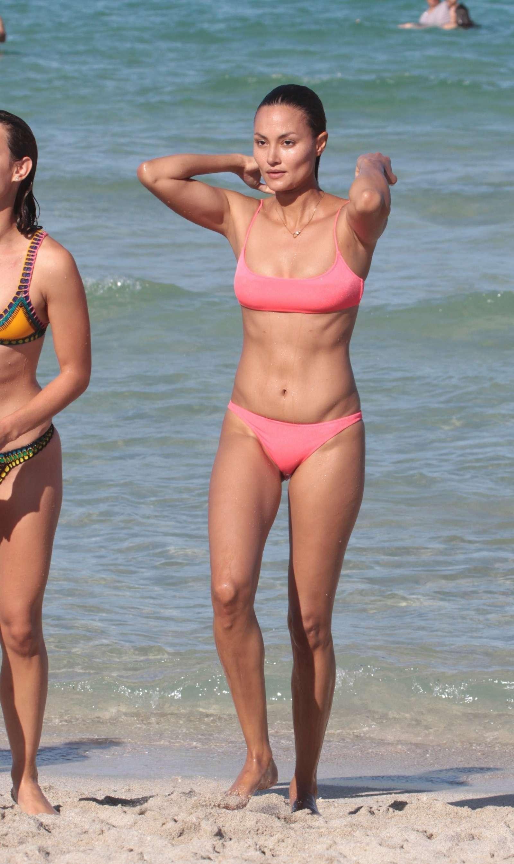 Anne marie kortright in a pink bikini at miami beach