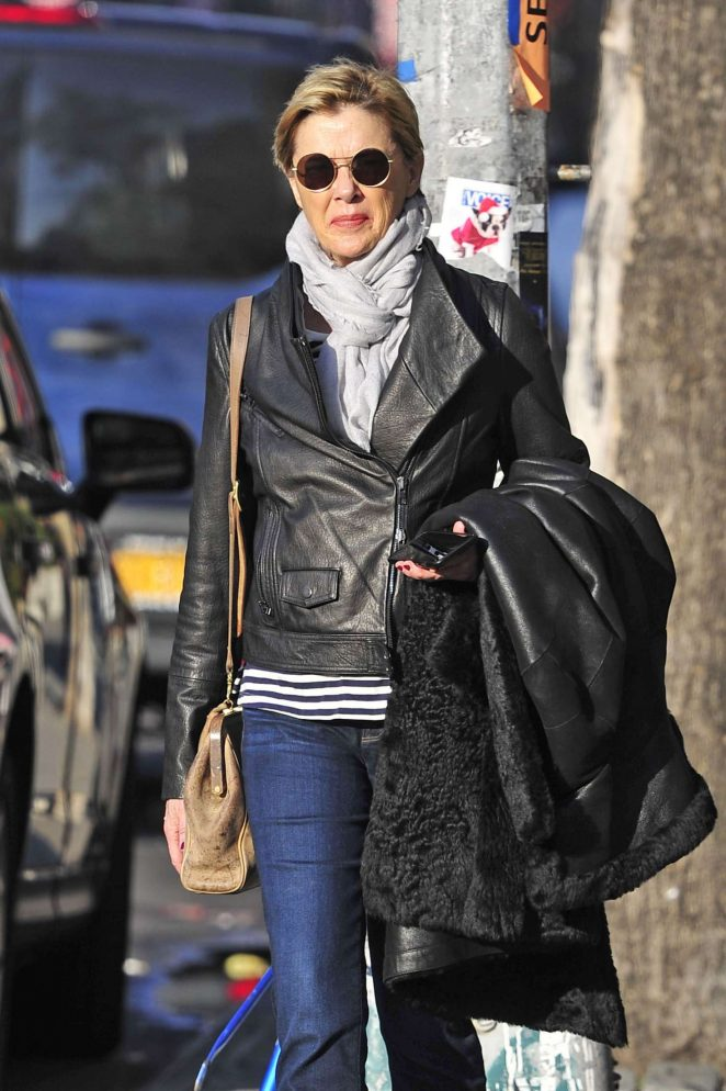 Annette Bening in leather jacket out in New York
