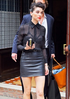 Annie Clark in Leather Mini Skirt out in NYC