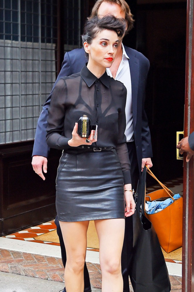 Annie Clark in Mini Skirt out in New York City