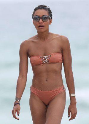 Annie Ilonzeh in Bikini on the beach in Miami