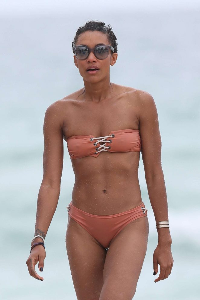 Annie Ilonzeh in Bikini on the beach in Miami
