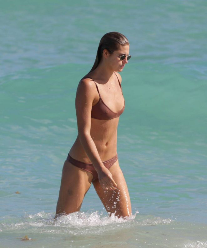 Annie McGinty in Brown Bikini in Miami Beach