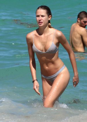 Anouk van Kleef in Bikini at the beach in Miami
