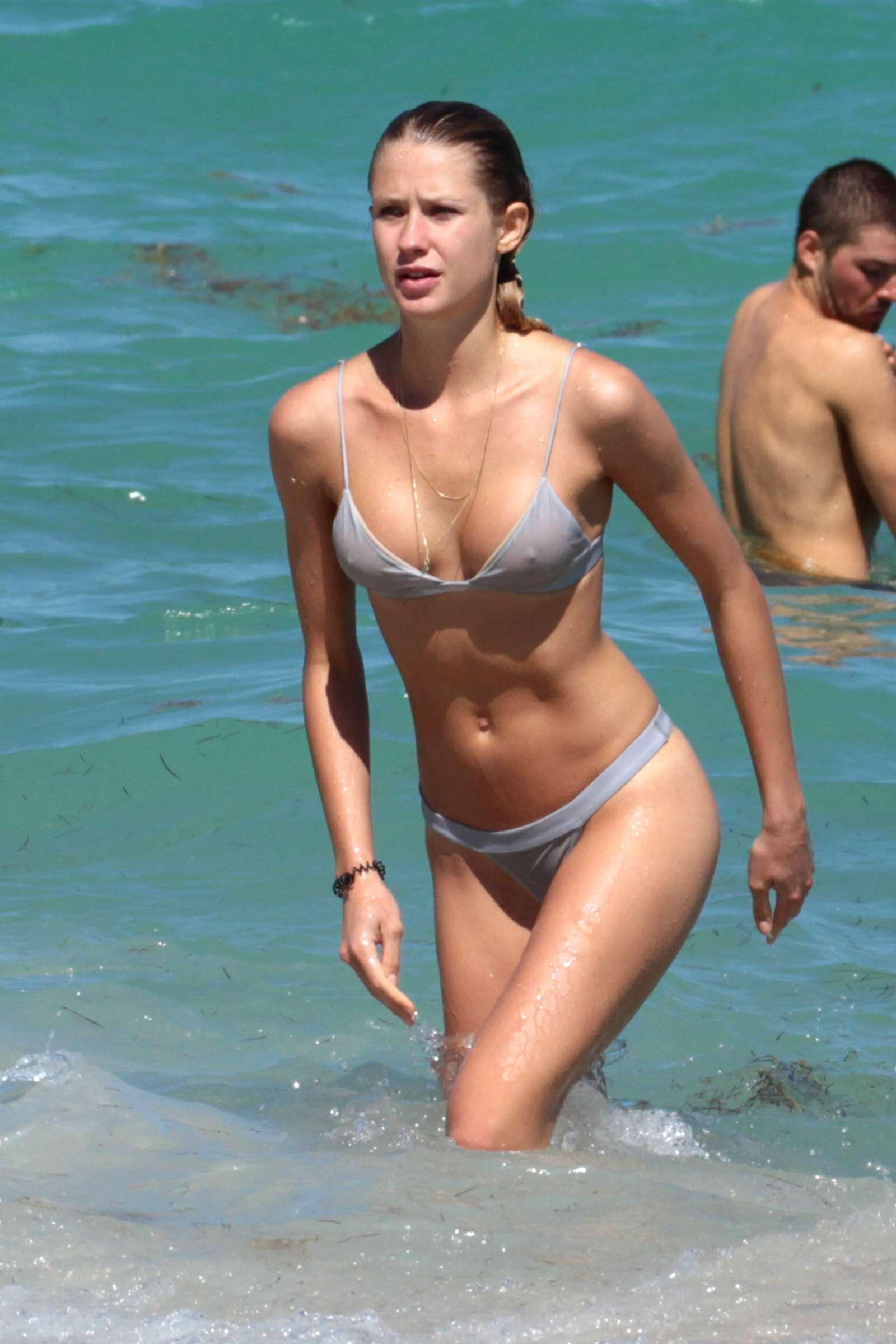 Anouk van Kleef in Bikini at the beach in Miami