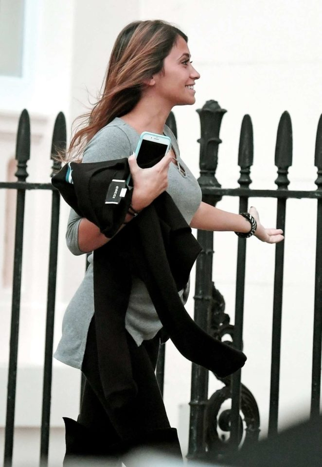 Antonella Roccuzzo - Leaves a restauran in London