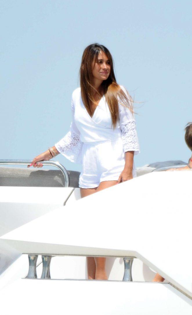 Antonella Roccuzzo on a boat in Sevilla