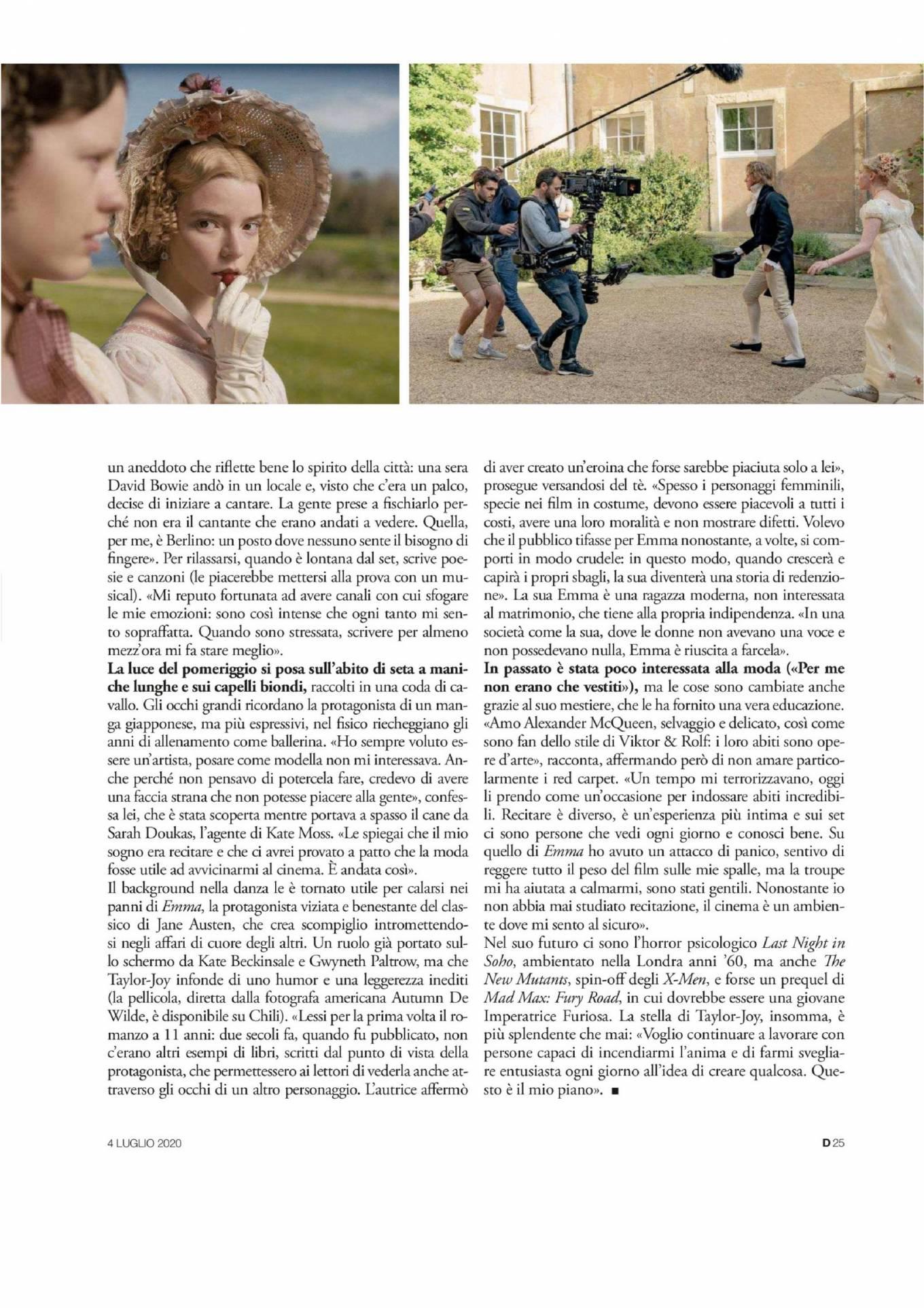 Anya Taylor-Joy 2020 : Anya Taylor-Joy – D la Repubblica 2020-03