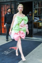 Anya Taylor-Joy - In multi colored dress leaves The Bowery Hotel