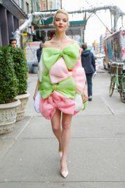Anya Taylor-Joy looks stylish in a Celia Kritharioti dress in New York City