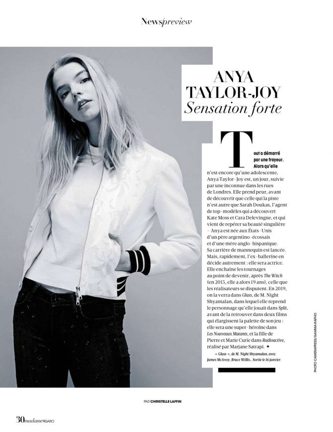 Anya Taylor-Joy - Madame Figaro Magazine (December 2018)