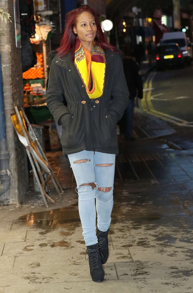 April Jackson in Ripped Jeans Shoping in Brixton