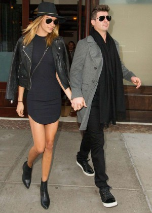 April Love Geary and Robin Thicke Leaving Tribeca Hotel in NY