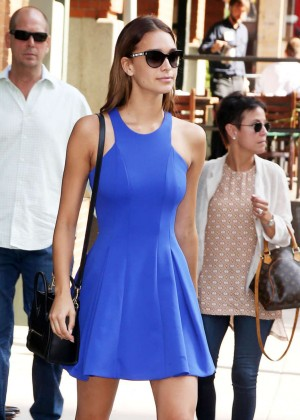 April Love Geary in Blue Mini Dress out in New York