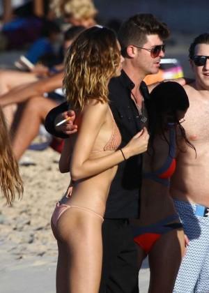 April Love Geary in Bikini on the beach in St Barts
