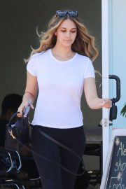 April Love Geary in Black Tights - Leaving a salon in Malibu