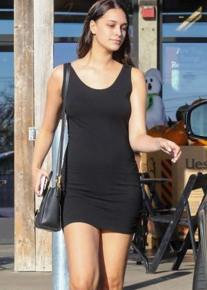 April Love Geary in Short Black Dress - Shopping in Malibu