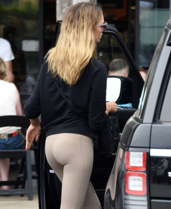 April Love Geary in Tights Out Shopping in Los Angeles