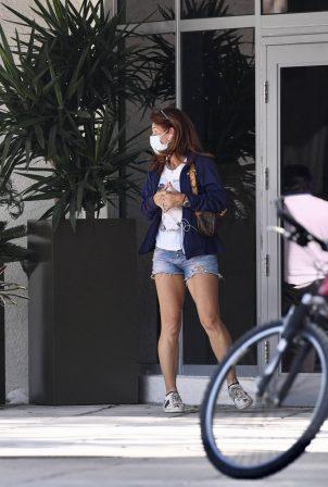 Arantxa Sánchez Vicario - In denim shorts out in Miami