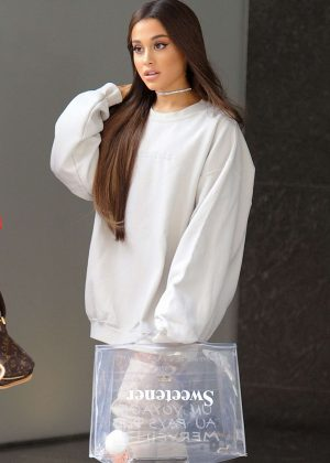 Ariana Grande - Heads to promote her new album Sweetener in NYC