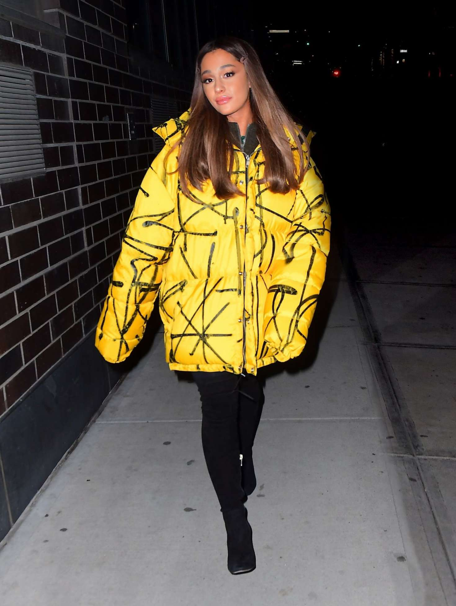 Ariana Grande in Yellow Jacket - Out and about in NYC
