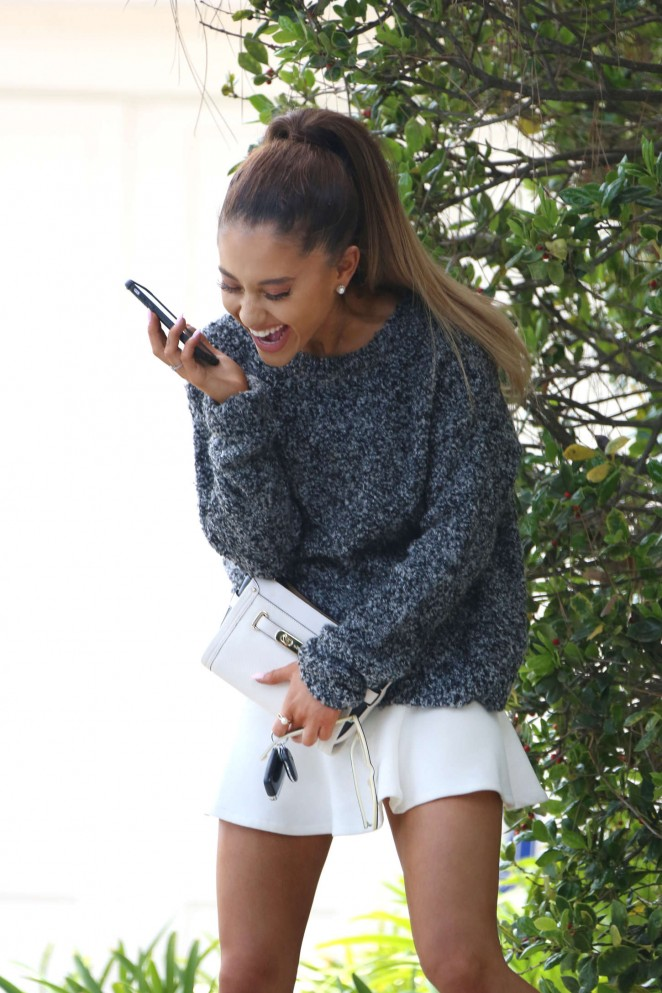 Ariana Grande in White Mini Skirt out in LA