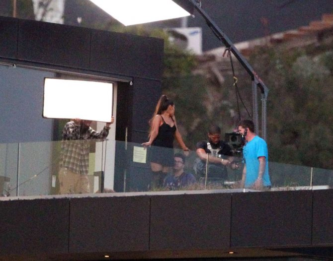 Ariana Grande - Shooting a music video in the Hollywood Hills
