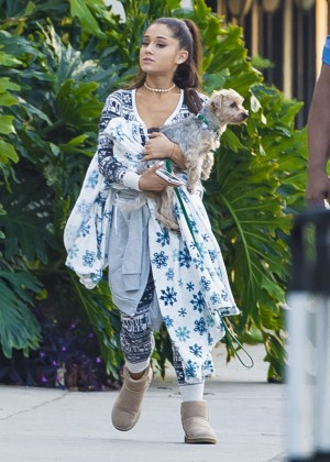 Ariana Grande with her Dog Out in Los Angeles