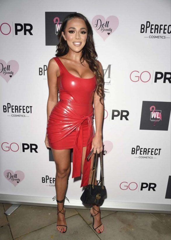 Arianna Ajtar in Red Latex Dress - Mars The Label Pre Christmas Party in Manchester