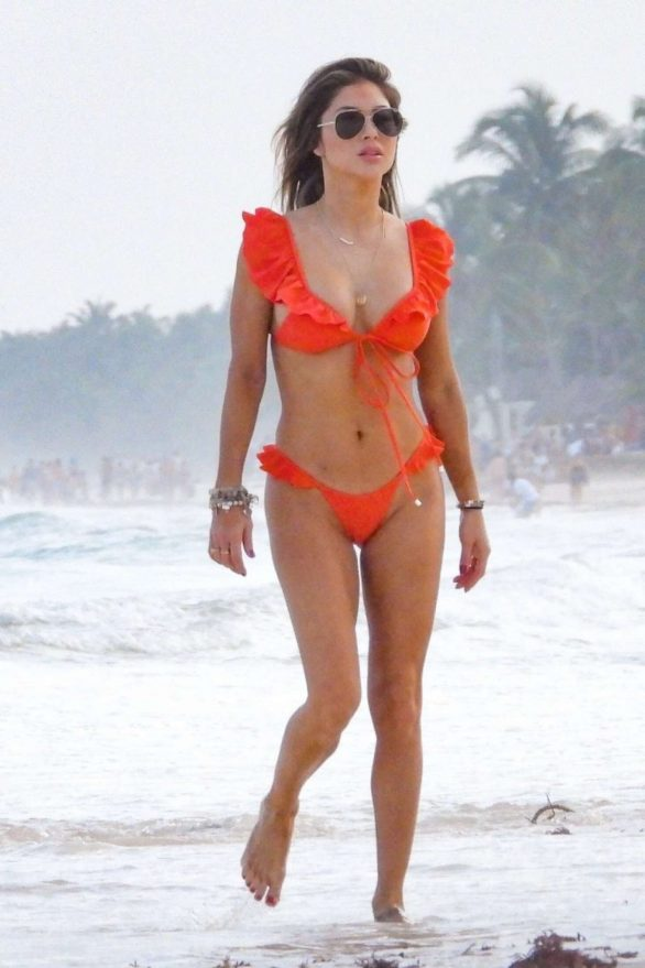 Arianny Celeste in Red Bikini on the beach in Tulum