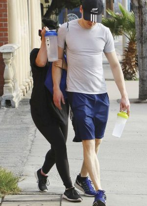Ariel Winter and her boyfriend outside her gym in Los Angeles