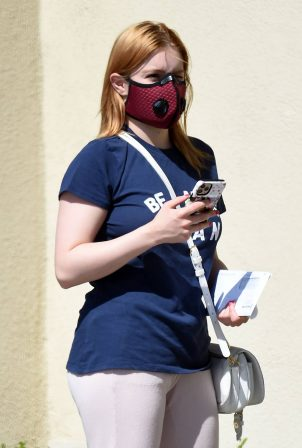 Ariel Winter - Heads to the bank using a high tech red face mask in Hollywood