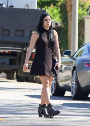 Ariel Winter in MIni Dress on set in Los Angeles