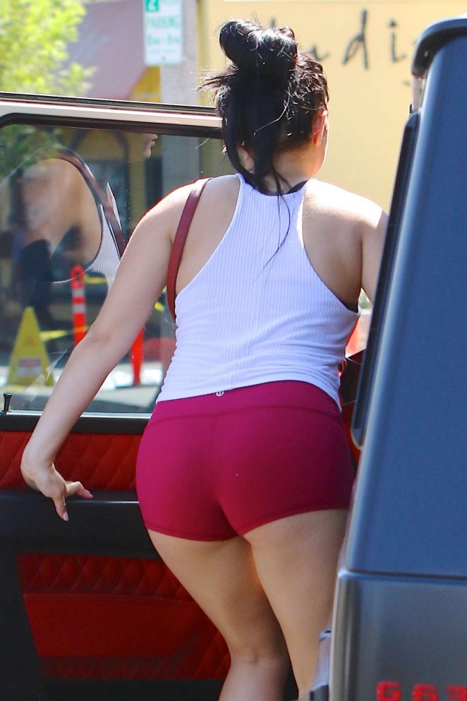 Ariel Winter in Red Shorts Leaving a Yoga Class in Studio City