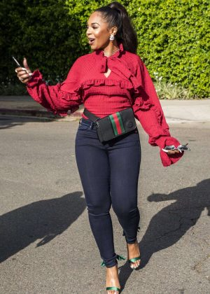 Ashanti in Black Jeans out in West Hollywood