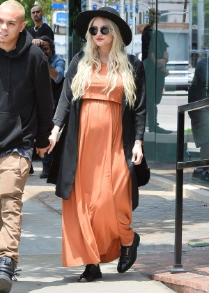 Ashlee Simpson in Orange Dress at Bel Bambini in LA