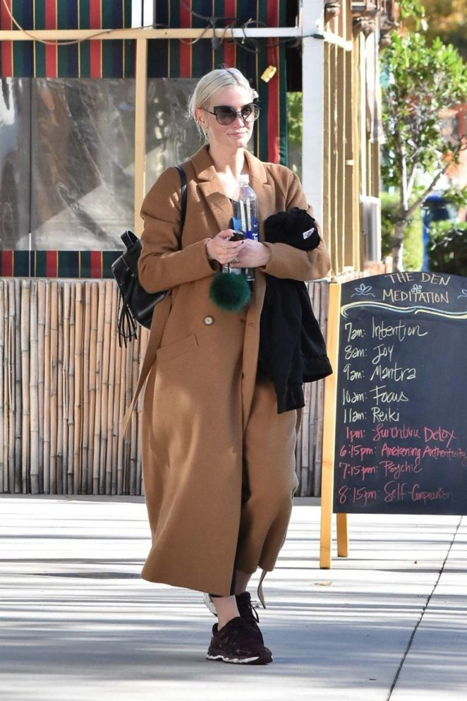 Ashlee Simpson in Long Coat Out in Studio City