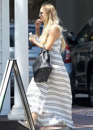 Ashlee Simpson in long dress shopping in Los Angeles