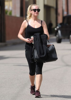 Ashlee Simpson in Tights after a workout in Los Angeles