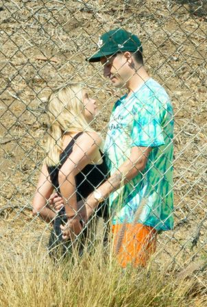 Ashley Benson and boyfriend G-Eazy as she arrives at his video shoot in Malibu